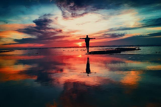 silueta, voda, západ slunce